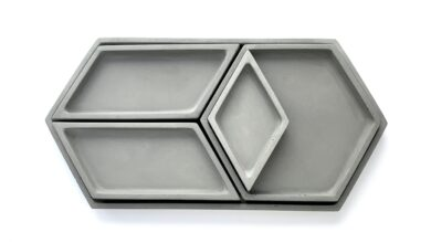 Hex Tray Collection - Grey w Lacquer (food safe)
