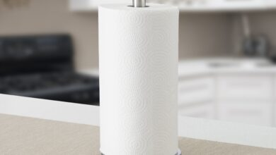 Home Basics Free-Standing Stainless Steel Paper Towel Holder with Weighted Base, Silver