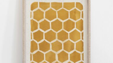 Honeycomb Pattern Wall Art Print - Gold - 5x7