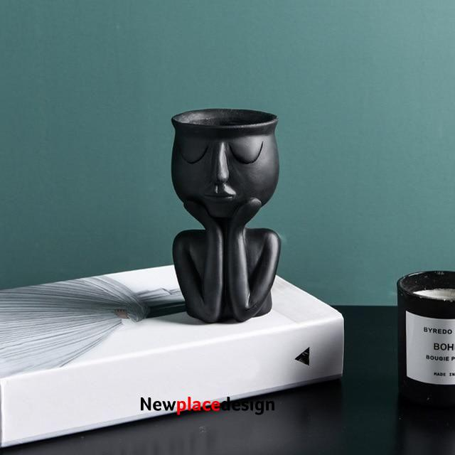 Human Face Resin Flower Pot - black