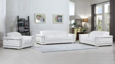 Ilabisa Leather Sofa Set - SOFA+LOVE / White / None
