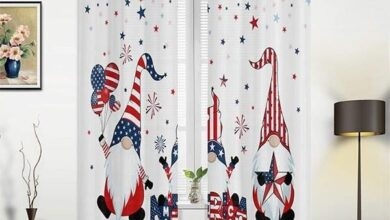 Independence Day Gnome Curtains  Gnome Ornament - 53.1 X 62.9 (x2)