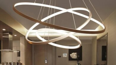 Indoor Modern Circular Ring Chandelier - White / 3Ring 20 40 60cm / Changeable