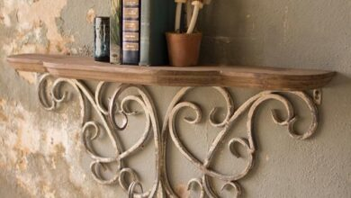 Kalalou Wood Top Shelf With Metal Filigree Detail