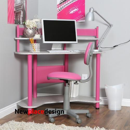 Kids Student Small Compact Computer Desk and Chair - Pink