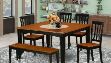 Kitchen Table Set-Dining Table And Dining Chairs Shape Square, Finish Black & Cherry, Number of Items 6, Style Wood Seat - East West Furniture - P