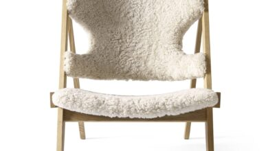 Knitting Chair: Sheepskin - Natural Oak + Sheepskin  Moonlight