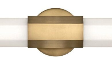 LED Bath from the Facet collection in Heritage Brass finish