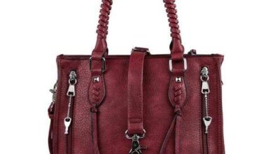 Lady Conceal Amy Conceal Carry Studded Satchel Handbag - Wine