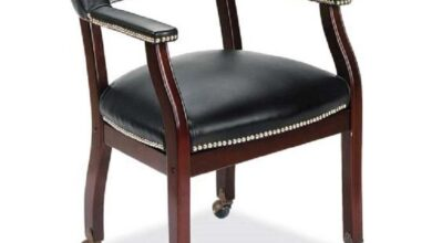 Lancaster Collection Guest Chair, Mahogany Frame with Casters - Black