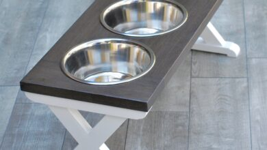 Large Elevated Dog Bowl Stand - X Pattern Farmhouse Table - Three Bowl Stand