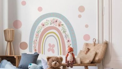 Large Rainbow Botanical Floral Wall Sticker Decal