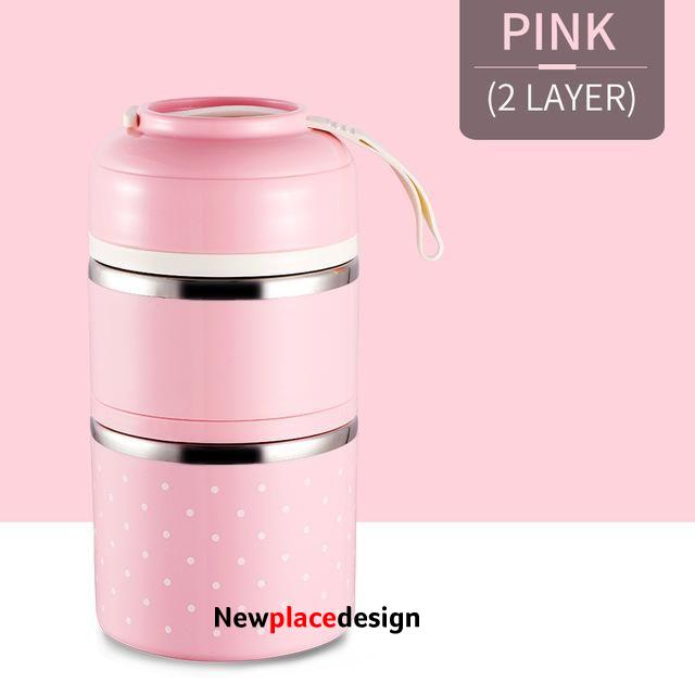 Leak-Proof Stainless Steel Thermal Lunch Boxs Cute Japanese Kitchen Supplies - Pink 2 Layers / United Kingdom