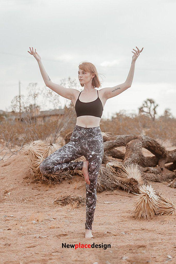 Leggings - Black and White Marble - Small