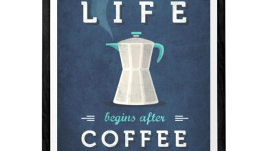 Life begins after coffee print. Red kitchen print - Blue / 40 cm x 50 cm