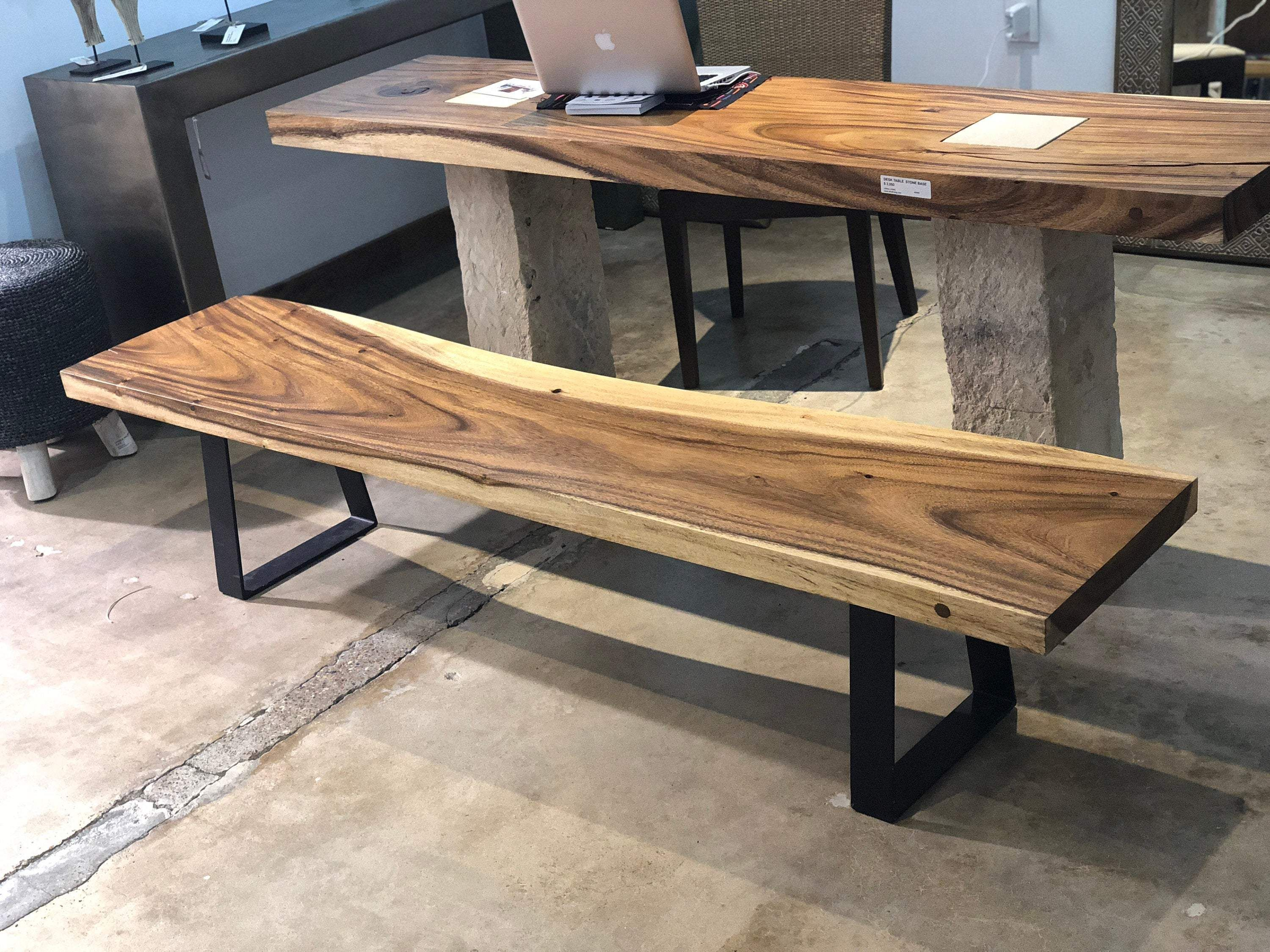 Live Edge Bench with Modern Metal Base | Natural Wooden Bench