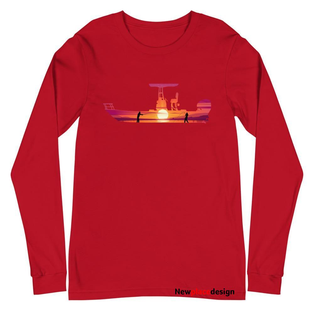 Long Sleeve Fishing Boat Silhouette Fishing Image - Red / 2XL