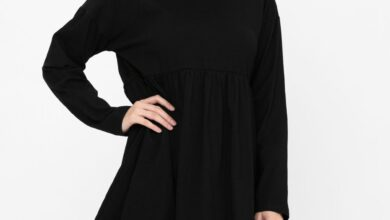 Long Sleeve Round Neck Shift Cotton Dress Tiered Solid Color Tunic Party Mini Dress - Black / Medium 8-10