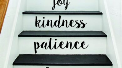 Love Patience Stairs Quote Wall Decal Sticker Room Art Vinyl Joy Peace Happy Family Home House Staircase - white