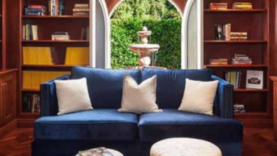 Luxe Home Library Design - Inside a Classic Mediterranean Bel Air Estate