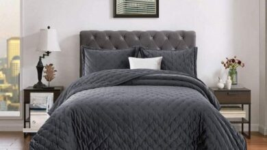 Luxurious Crushed Velvet Quilted Bedspread 3 Piece Bedding Set - Double / Charcoal