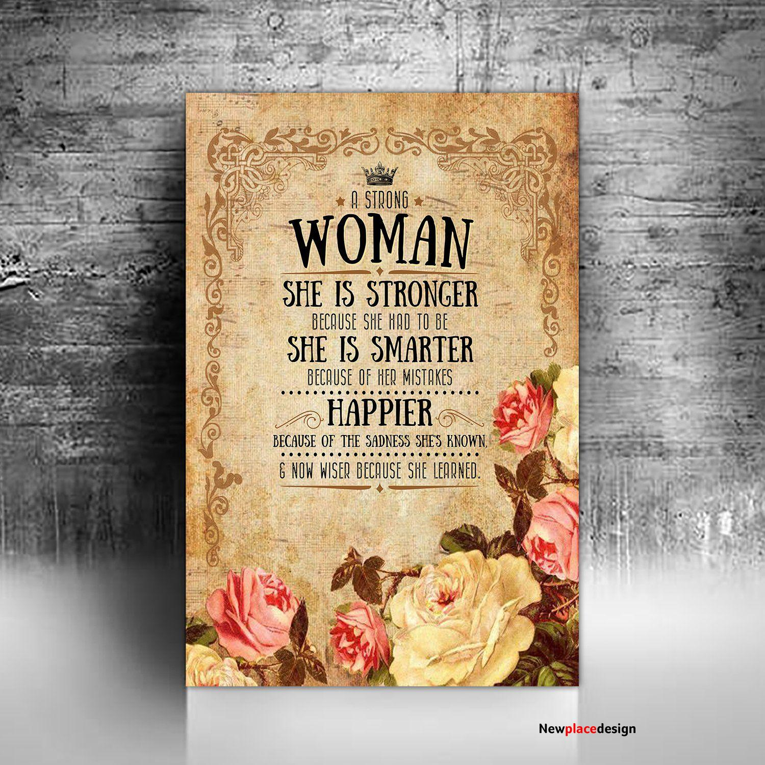 MKTEE Strong Woman Quotes She Is Stronger Canvas Art for Wall Decor Print Painting for Room Decoration - 11x14