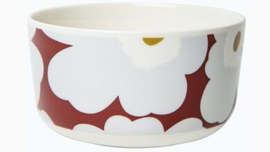 Marimekko Unikko Bowl - Wine Red/Grey/Olive