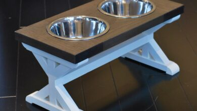 Medium Elevated Dog Bowl Stand - Trestle Farmhouse Two Bowl Stand