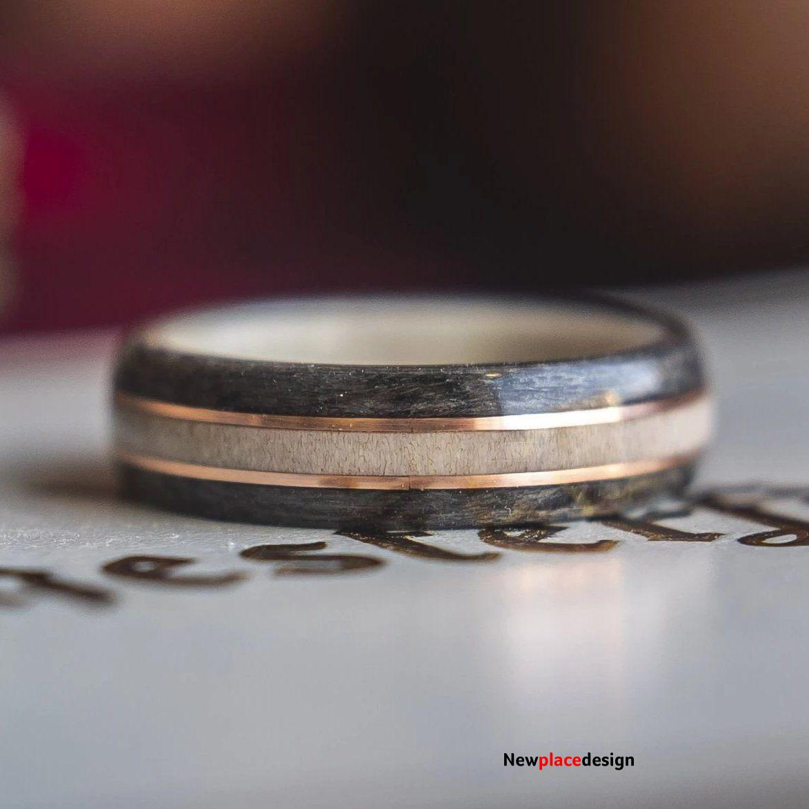 Mens Wedding band featuring Antler, Grey Maple and Copper