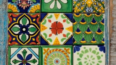 Mexican Tile Set of 9 Different Tiles 10.5cm x 10.5cm VERDE9