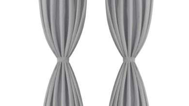 Micro-Satin Curtains 2 piece with Loops 140x225 cm Grey