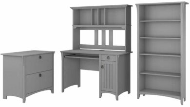 Mission Desk with Hutch, Lateral File Cabinet and 5 Shelf Bookcase - Driftwood Gray / Unique / Various