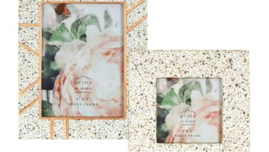 Mixed & Mingled Resin Terrazzo Picture Frame 2PC Set, Cream-Gold