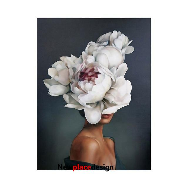 Modern Figure Lady Head Flower Picture Home Decor Nordic Canvas Painting Wall Art Posters and Prints Decor for Bedroom Dorm Room - 60x80cm no frame / G-7