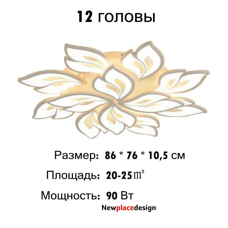 Modern Led Ceiling Light - 12 Heads / Russian Federation / APP with RC Dimmable