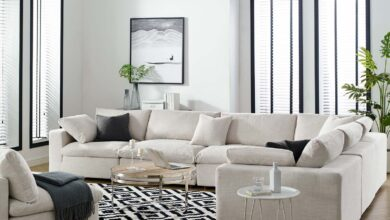 Modway Commix Down Filled Overstuffed 6 Piece Sectional Sofa Set - Beige