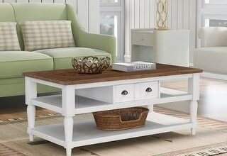 Mordern Coffee Table with 1 Drawer and 1 Shelf (White), Brown, Nestfair