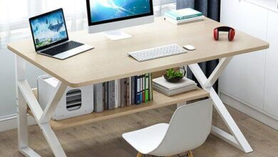 Mushegh Desk Latitude Run Size: 71.5cm H x 120cm W x 70cm D, Top Colour: Beige, Frame Colour: White