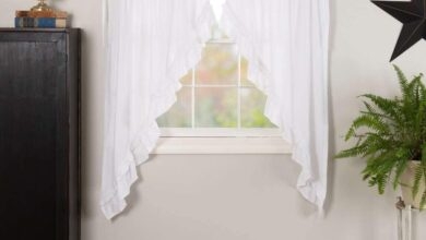 Muslin Ruffled Bleached White Prairie Short Panel Curtain Set of 2 63x36x18 VHC Brands