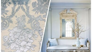 """NEW Lady Valerie Designer Brocade Satin Fabric - Cream Neoclassical Floral Upholstery Damask - Blue / Swatch 4"""" x 7"""""""