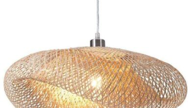 Natural Bamboo & Electroplated Steel Ceiling Lamp