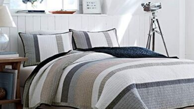 Nautica Home Quilt - 100% Cotton Light-Weight Reversible Bedding, Pre-Washed for Extra Comfort - Full/Queen / Tan/Grey