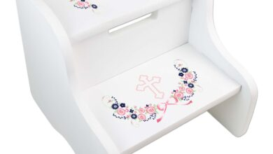 Navy Pink Floral Cross Two Step White Stool - one line of text (name only)