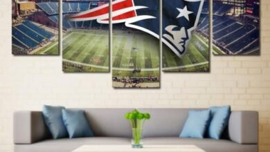 New England Patriots Wall Art Canvas Painting Pats Decor - 32 x 60 Inch