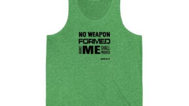 No Weapon Formed Against You Shall Prosper Unisex Jersey Tank - Green TriBlend / M
