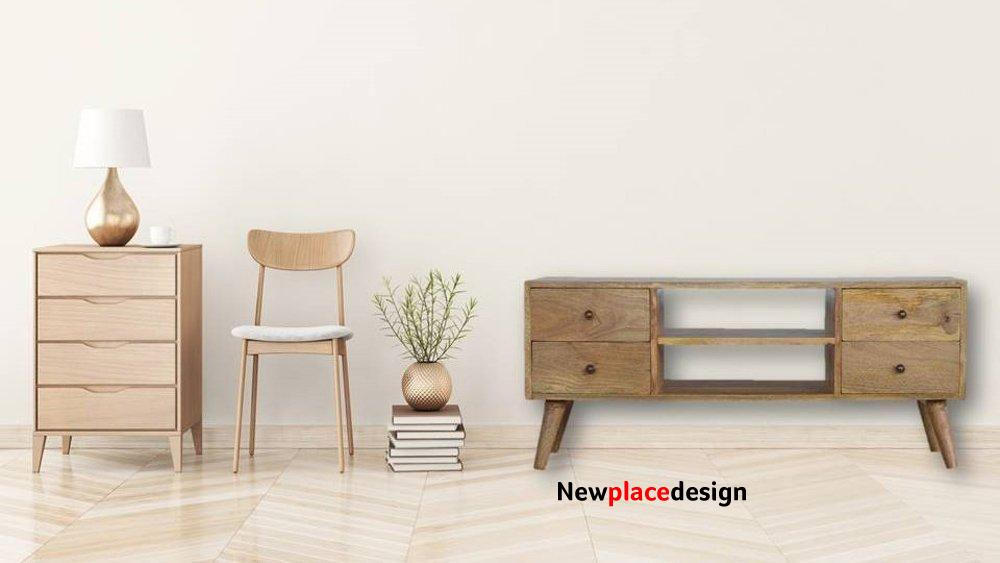 Nordic Style Media Unit with 4 Drawers by Artisan Furniture