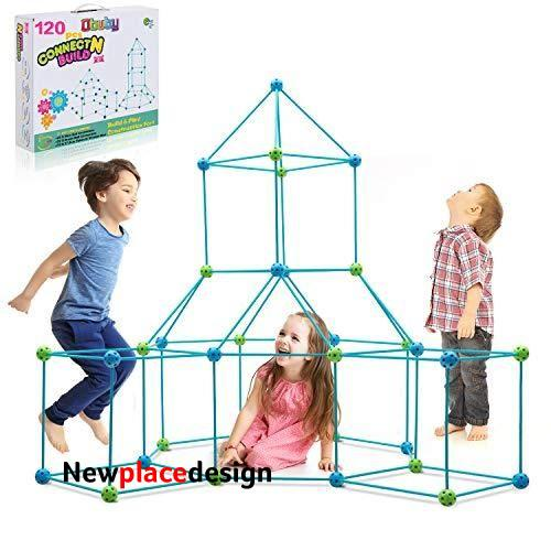 Obuby Kids Construction Fort Building Kit 85/120 Pieces Ultimate Forts Builder Gift Build Making Kits Toys for Boys and Girls to DIY Building Castles Tunnels Play Tent Rocket Tower Indoor & Outdoor - Blue+green / 120 Pieces