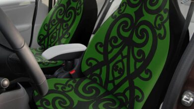 Olive Greens and Black Maori Rafter Car Seat Cover Airbag Compatible (Set of 2) – One Size