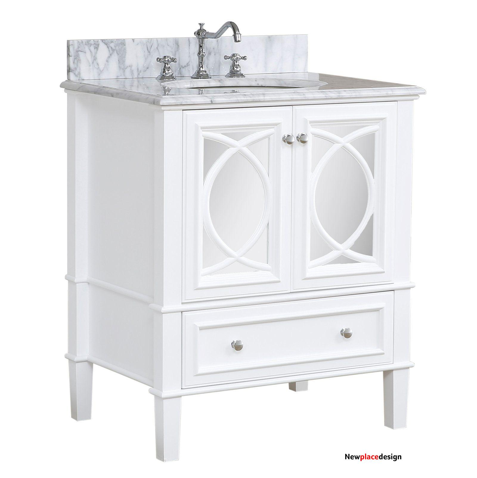 Olivia 30-inch Vanity with Carrara Marble Top - White