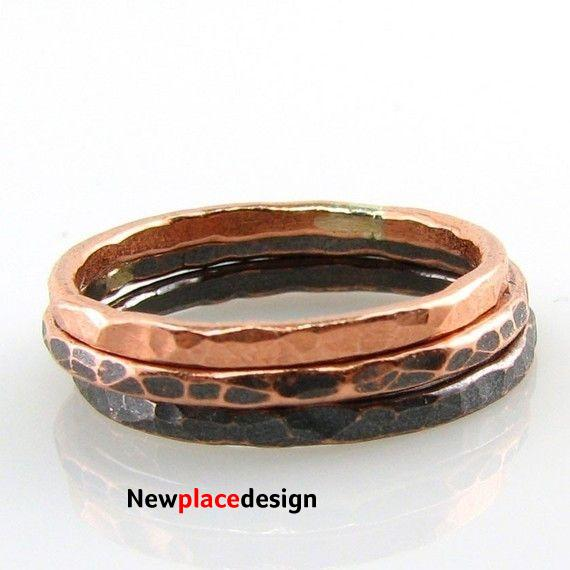 Ombre' Trio of Copper Stacking Ring - 5